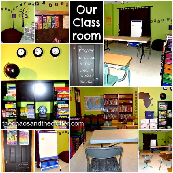 A large family Homeschool classroom. Great ideas.