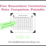 Homeschool Curriculum Price Comparison Printable