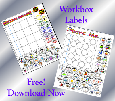 Workbox labels to help you stay organized and to help your children know what's inside each drawer