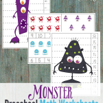 Monster Preschool Math Worksheets {freebie}