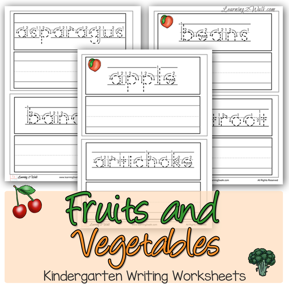 Fruits and Vegetables Kindergarten Writing Worksheets - The Homeschool ...