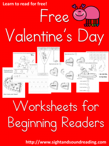 Free Valentine's Day Worksheets for Beginning Readers