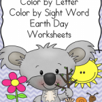 Free Earth Day Color By Letter and Sight Word Worksheets